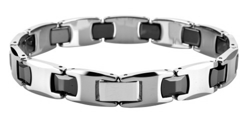 Polished Shiny Tungsten Carbide with Black Ceramic Beveled  Bracelet /TUBR1007