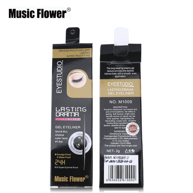 New Brand Music Flower Black Waterproof Eyeliner Gel Makeup Cosmetic Gel Eye Liner With Brush 24 Hours Long-lasting For Women 3