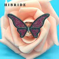HIBRIDE Big Red Stone Butterfly Women Bridal Rings Black Gun Plated Bague Engagement Gifts Anillos Mujer