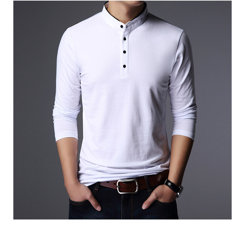 DARSJUCBD Fashion Brand Clothing Tshirt Men Stand Collar Long Sleeve Cotton Casual Plus Size Solid Mens
