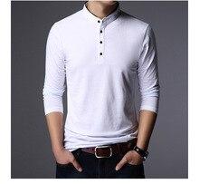 DARSJUCBD Mode Marke Bekleidung T-shirt Männer Stehen Kragen Langarm Baumwolle Beiläufiges Plus Größe Solide Herren T Shirts 4XL 5XL