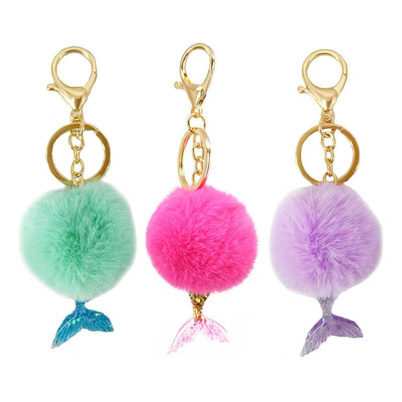 Quà Giáng Trang Sức Tặng 5 Colorsball Móc Khóa Với Người Cá Chìa Khóa Fashionnew 1 Lông Pompon POM Lông Tơ Túi Mặt Dây Chuyền móc Khóa