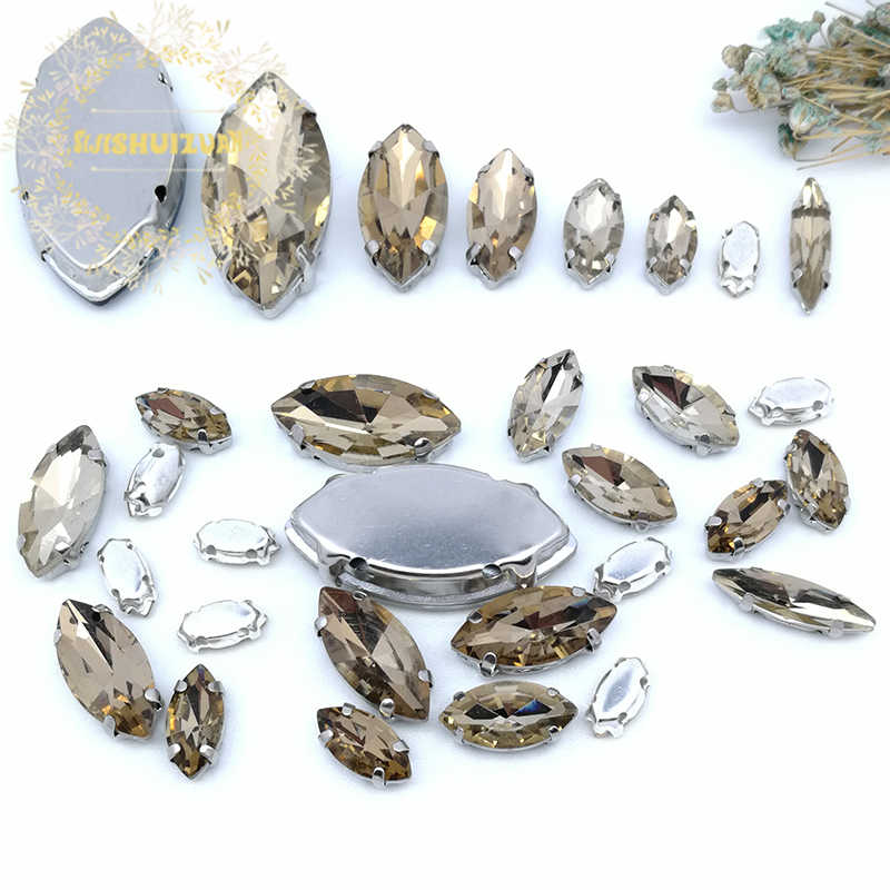 34a4925c17 30pcs 8sizes! MIX Light coffee Horse eye Size Crystal Glass Sew-on  Rhinestones Silver Bottom DIY Women's Dresses and shoes