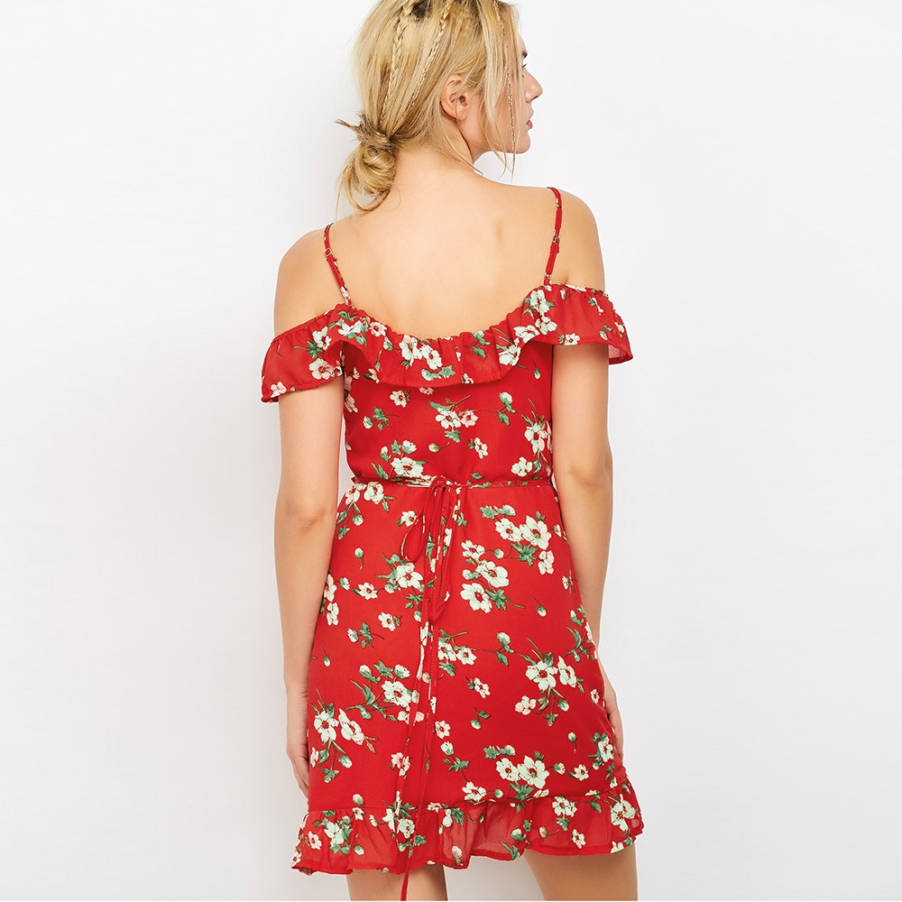 VESTLINDA Floral Print Mini Wrap Dress Red Spaghetti Strap V Neck Party Dresses Ruffles Asymmetrical Mini Vestidos Summer Dress 2