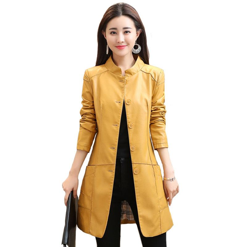 Women Long PU   Leather   Jacket Outwear Autumn Winter Stand Collar Single Breasted Female Faux   Leather   Moto Coat Plus Size 4XL O684