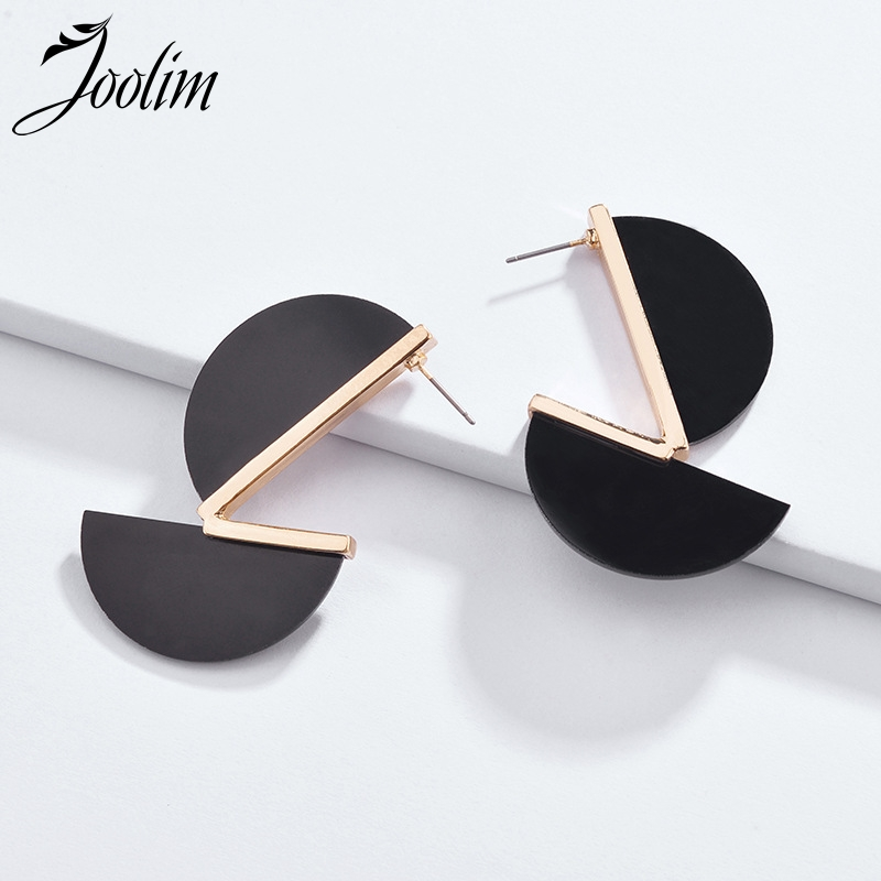 JOOLIM 2 Half Circles Drop Earrings White Black Stylish Resin Wholesale
