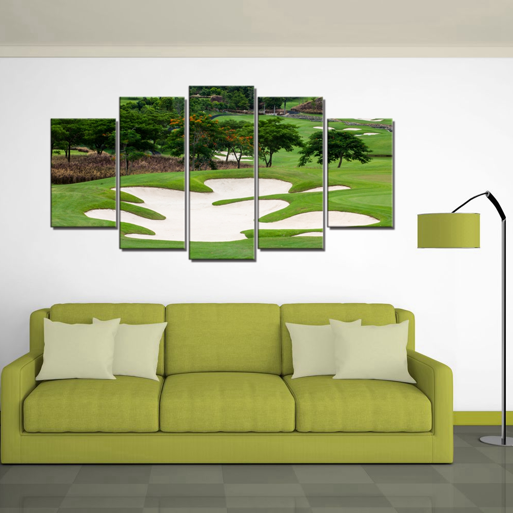 Golf Course Landscape Pictures for Dining Room Office Wall Decor Sport Poster Wall Art Canvas Printed 5 Pieces Artwork Dropship