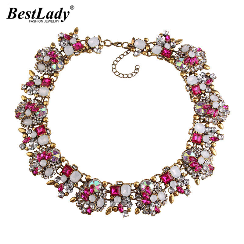 Best lady 2016 New za Big Brand Gem Vintage Gold Chunky Statement Necklace AB Crystal Luxury Maxi Choker Women Necklace 3278