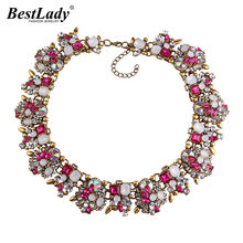 Best lady New Big Brand Gem Vintage Chunky Statement Necklace AB Crystal Luxury Maxi Choker Women Necklace Wholesale(China)