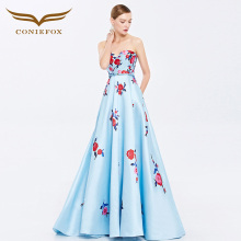 Coniefox 38081 strapless flower vestidos de festa vestido longo para casamento zuhair murad sexy long evening gowns dress(China)