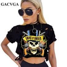 GACVGA Sexy Short T-Shirt Women Skull Print tshirt Female Short Sleeve Hollow Out Top Casual Crop Tops Ladies Tee Shirt Blusa