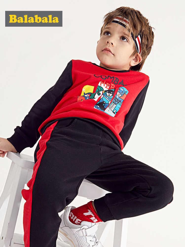 Balabala/Детский комплект из 2 предметов для мальчиков: толстовка с рисунком + штаны без застежек с полосками по бокам, весенний комплект одежды для маленьких мальчиков