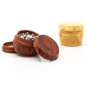Image 2 - New Arrival Wooden Herb Grinder 63 MM 3 Layers Spice Herb Grinder with Metal Teeth Tobacco Hand Grinder Crusher Party Gifts 2019