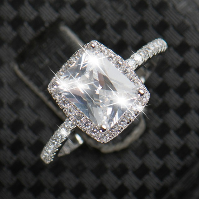 2CT Imitation Diamond 925 Silver Ring