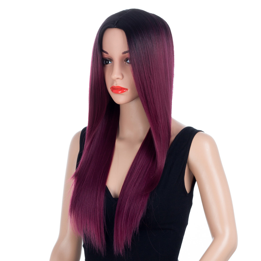 Aigemei 150% Density Straight Synthetic Fiber Heat Resistant 26 Inch No Lace Wigs For Wo ...
