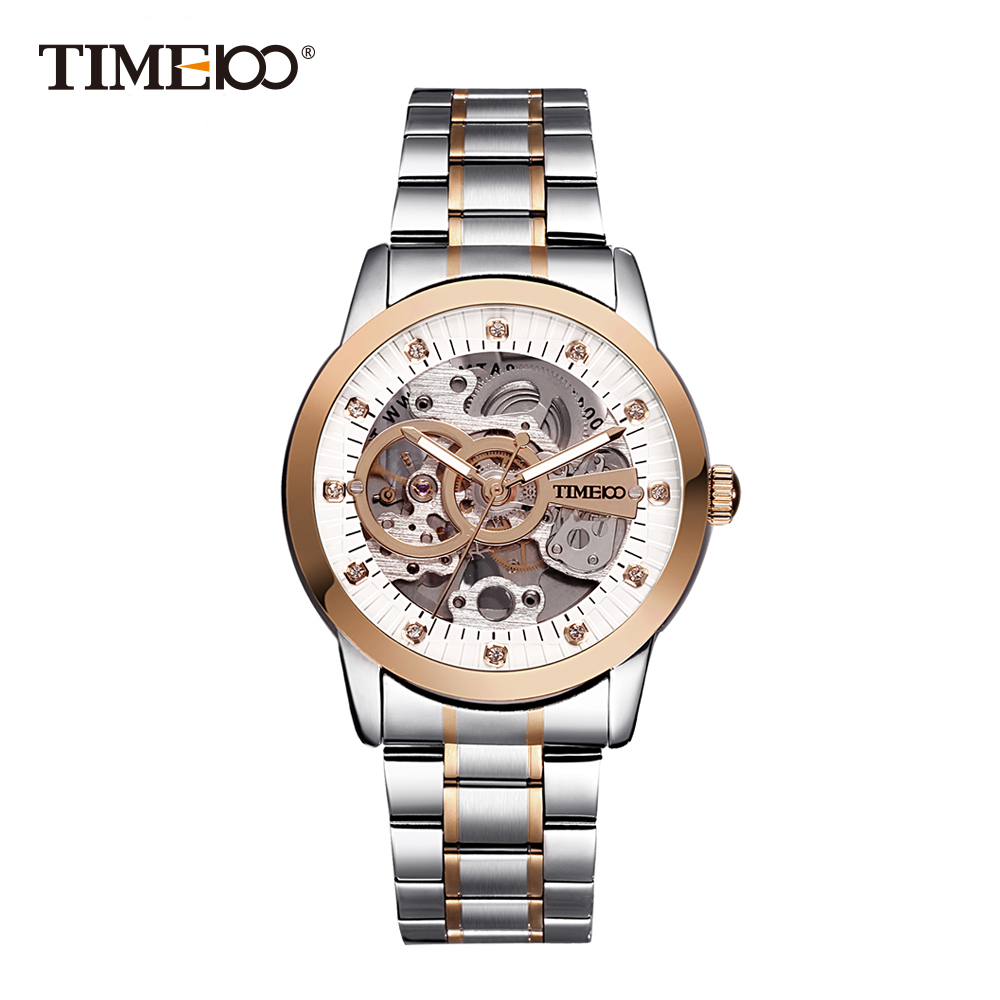 2017 TIME100 Fashion Men's Mechanical Self-Wind Skeleton Space Watch Stainless Steel Strap Business Wrist Watches For Men