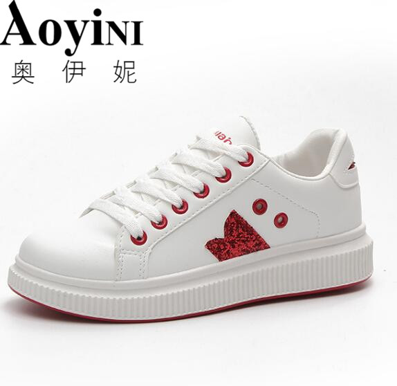 2018 Women Shoes New Fashion Casual Platform Striped PU Leather Classic Cotton Women Casual Lace-up White Shoes Sneakers
