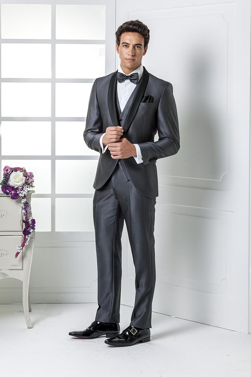 de0c2dc9963a 2016 New Collection Grey Wedding suits Italian mens suits  Jacket+Pants+Tie Bow+Vest Wedding Tuxedos custom made Best mens suits