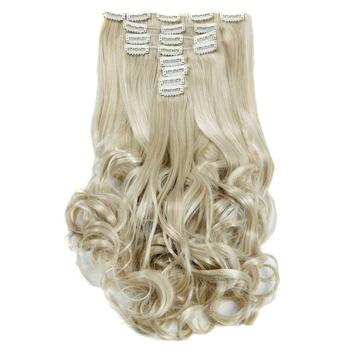Luxury For Braiding 50cm Highlighted Color Synthetic Clip Ins Hairpieces Wavy On Hair Extensions 8pcs/set