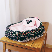 Floral Lace Bow Strawberry Winter Dog Beds Pet Mats Products For Dogs Pet House Cradle Maltese