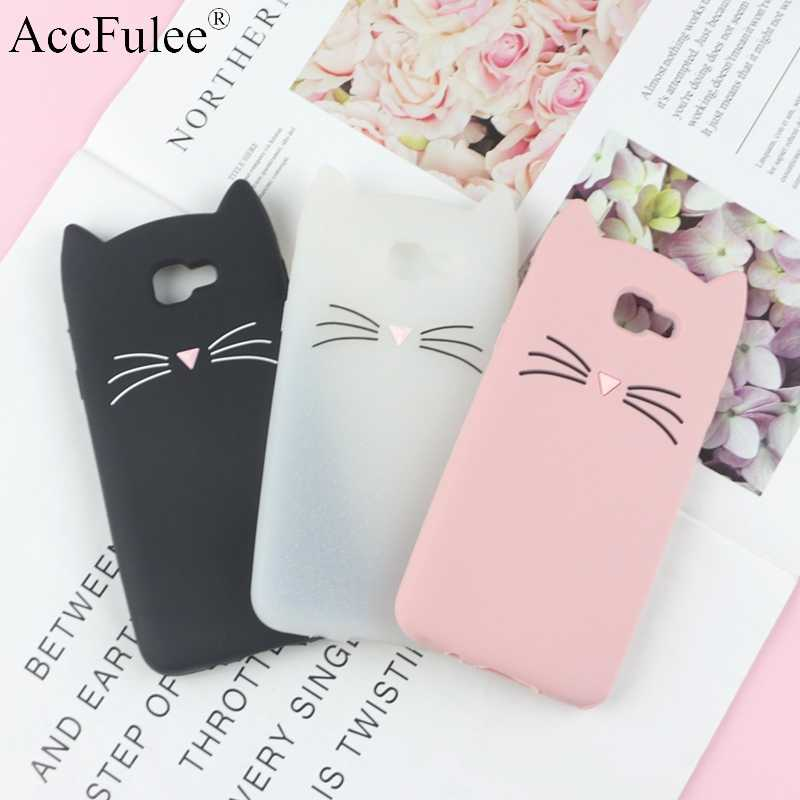 "3D Cartoon Glitter Cat Silicone Phone Case for Samsung Galaxy J4 Plus 2018 J415F J415 J4+ 6.0"" Ears Bearded Cat Soft Cover"