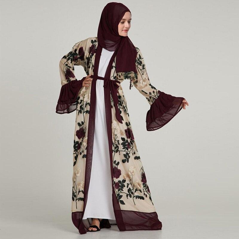 2019 Design élégant Robe musulmane femmes dubaï caftan décontracté Abaya Chifffon broderie Floral arabe turquie Islam robes de prière