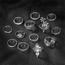Vintage Rose Flower Rings Set For Women Girl Bohemia Antique Silver Color Feather Midi Floral Knuckle Ring 13Pcs/Set