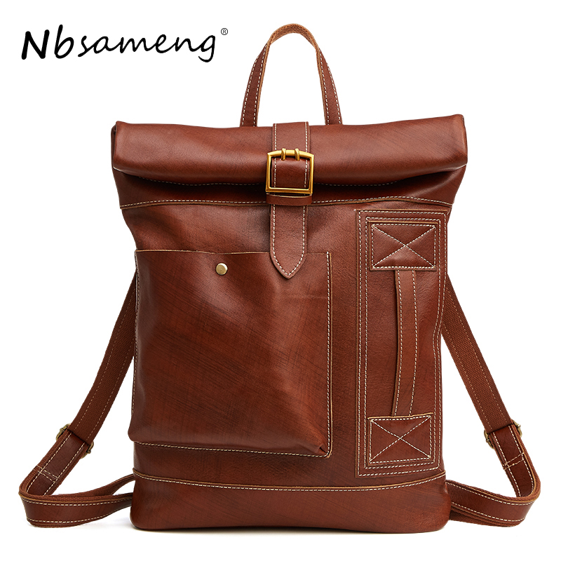 NBSAMENG High Quality Genuine Cowhide Leather Men Backpacks Fashion Casual Travel Bags Large Computer Bags Laptops