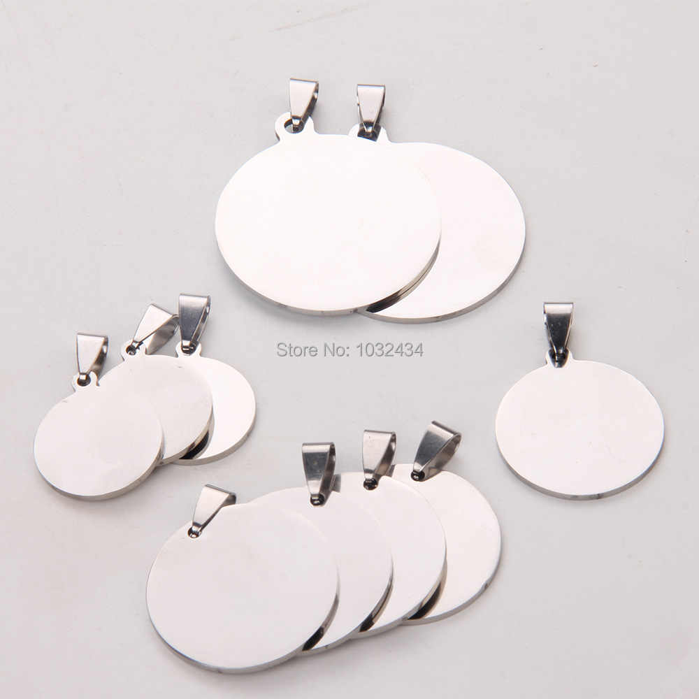 50pcs/lot Customize Engrave Polished Stainless Steel Charm Pendant Round Dog tag Stamping Blanks Jewelry Pendant Free Shipping