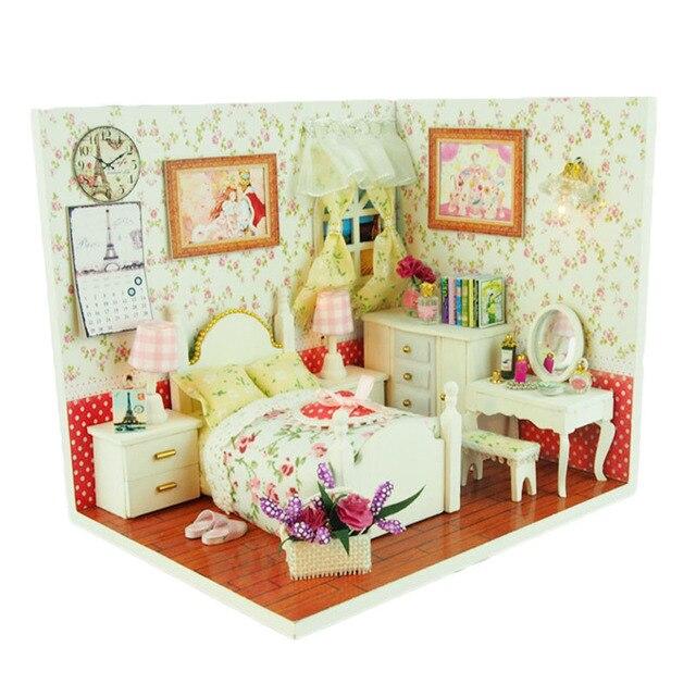 DIY Hut Wooden Doll House Fairy Tale Dollhouse LED Light Miniature Cottage  Furniture Kits Children Kid