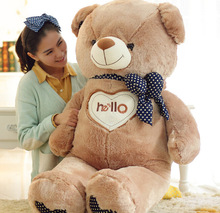 """large plush big """"hello""""teddy bear toy large fat brown colour teddy bear doll gift about 130cm"""