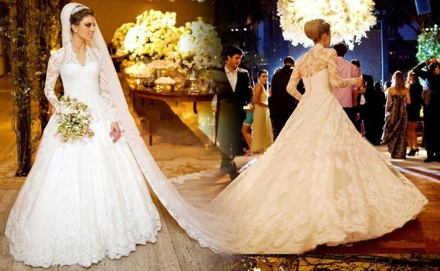 801d2cf3ba2b vestido Lace Wedding Dress with Long Sleeve V Neck A Line With Appliques  Button Back Bridal Gowns No Veil