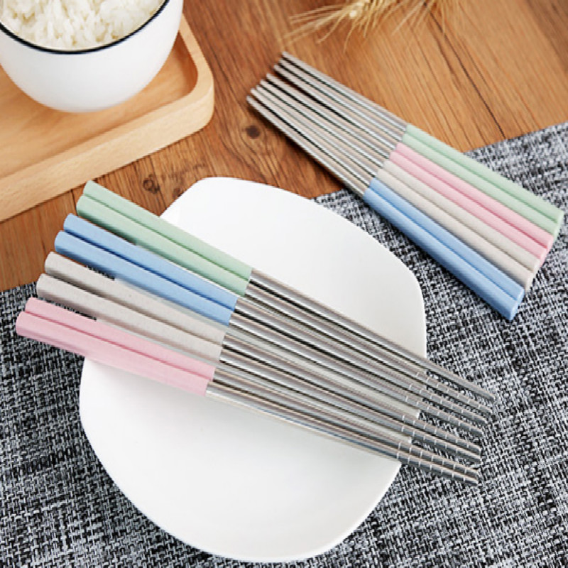 Stainless steel adult children kid style Chopsticks Environmental protection Chopstick 10pair lot free shipping in Chopsticks from Home Garden