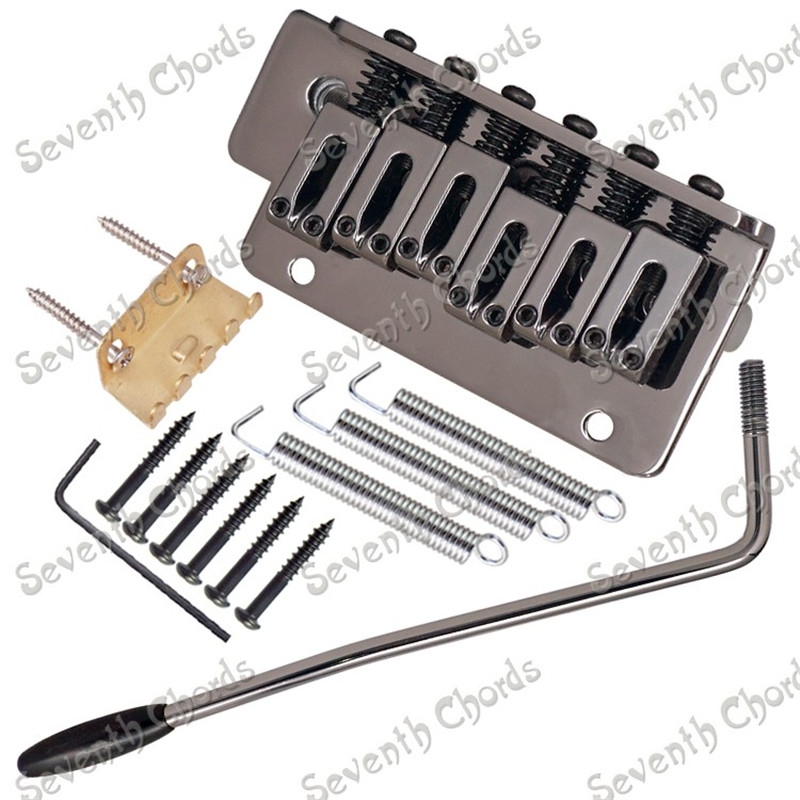 A Set Gun color 6 String Saddle Tremolo Bridge System for Electric Guitar Replacement parts With 2 Screw Hole black 6 saddle hardtail bridge top load 65mm electric guitar bridge b2c shop