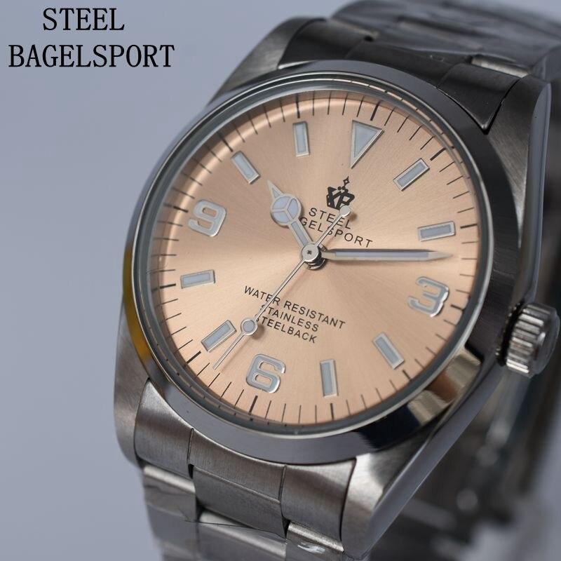 STEELBAGELSPORT clásico automático mecánico completo reloj de acero inoxidable para hombre relojes de lujo de marca superior relojes de negocios para hombre-in Relojes mecánicos from Relojes de pulsera    1