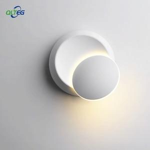 Image 2 - QLTEG 5W LED Wall Lamp 360 degree rotation adjustable bedside light 4000K Black creative wall lamp Black modern aisle round lamp