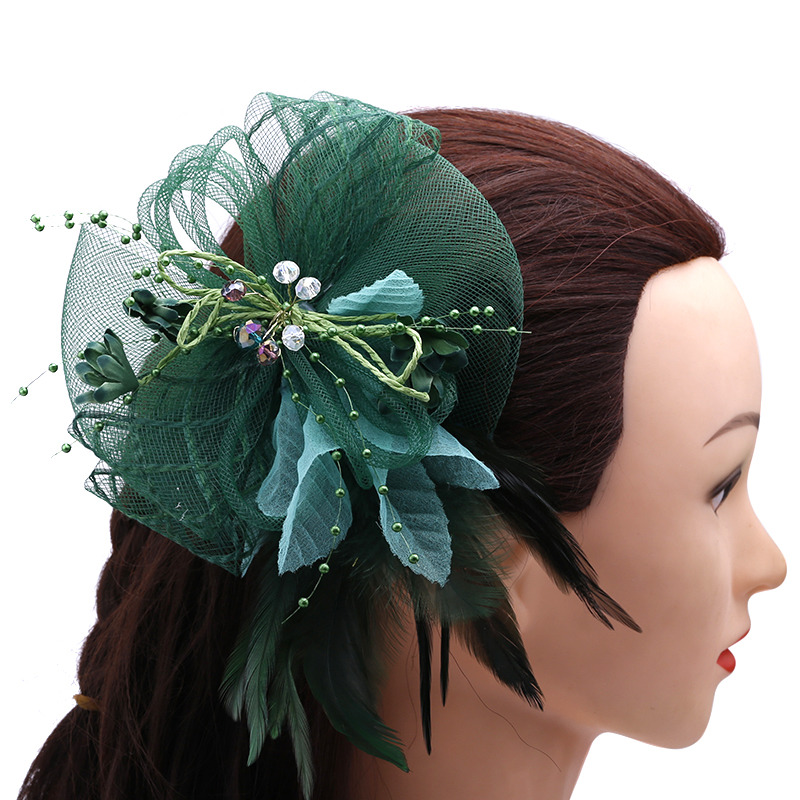 Christmas Gifts Choice Materials Jewelry & Accessories Analytical 1pcs Green Feather Headdress And Dress Collocation A Corsage Amphibious Wedding Bride Hair Bride Headdress