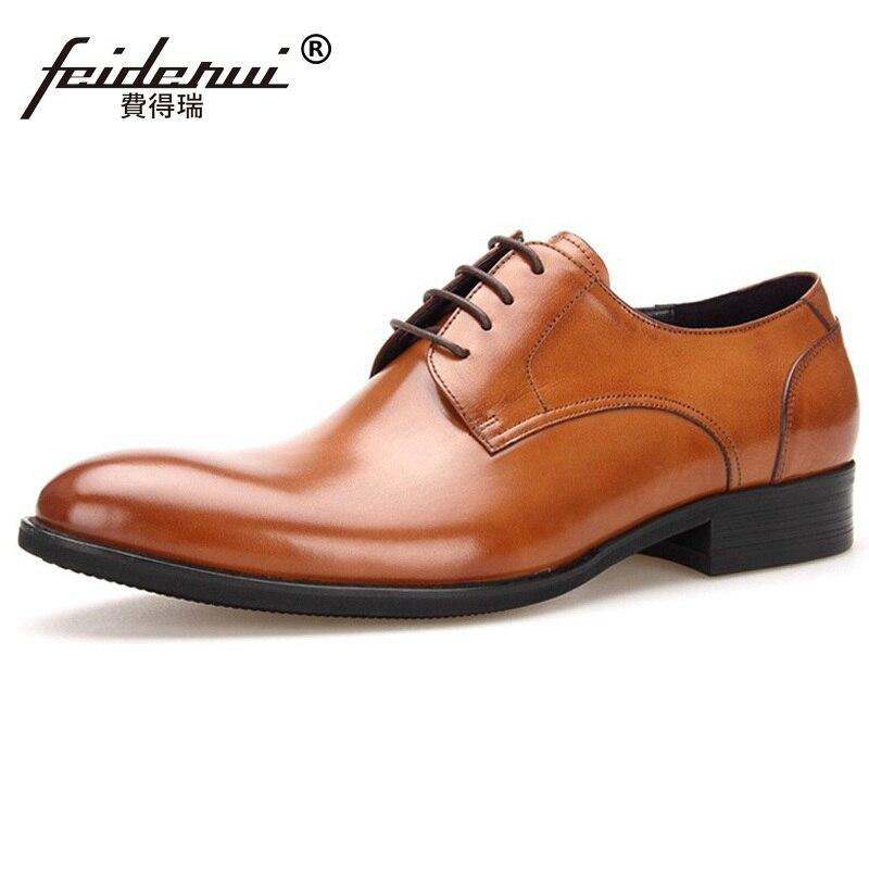 Da marrom 2017 Mg64 Noiva Formal Apartamentos Couro Vestido Qualidade Sapatos De Preto Luxo Artesanal Masculino Alta Oxfords Dos Genuíno Homem Homens Marca HWrH16pU