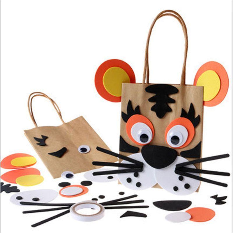 Children DIY Handmade Paper Bag Toys Kids Cartoon Animal Bag For Kindergarden School Educational Toys