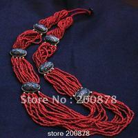 TNL252 טיבטי האדום mini חרוזים קמעות פליז שרשרת ארוכה, נפאל BOHO האתני אופנה, סיטונאי אתני שבטי שרשראות