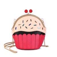 2017 Women Cute Cake Cup Messenger Bags Mini Leather Diamonds Purse And Handbag Chains Crossbody Cartoon