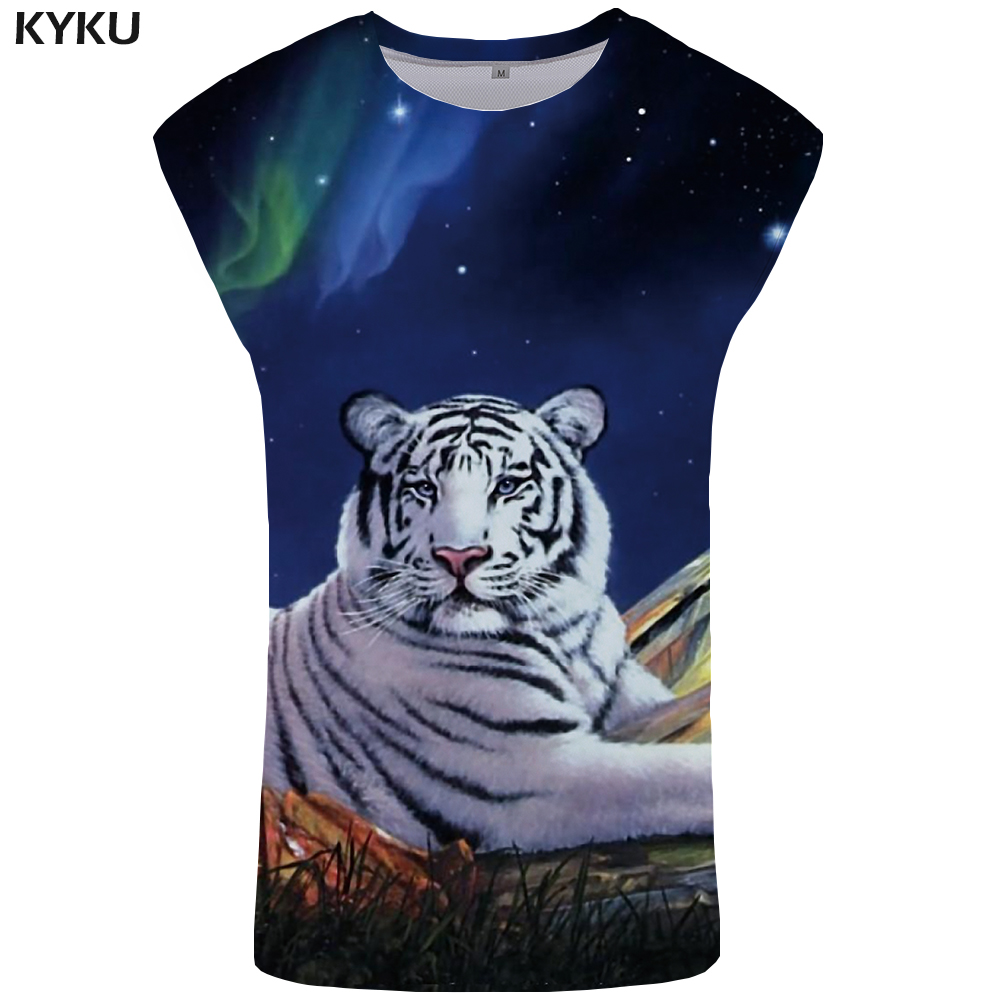 KYKU Brand Tiger   Tank     Top   Men Galaxy Ftness Clothing Weeds Mens Bodybuilding Animal Stringer Singlet Undershirt