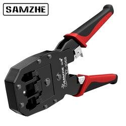 SAMZHE обжимные плоскогубцы для проверки витой пары, телефонной проводки, RJ11/12/45 инструмент для обжимки кабеля для 4 P/6 P/8 P Ethernet и телефон с украш...
