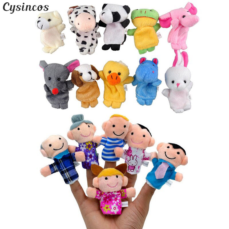 CYSINCOS 10PCS Cute Cartoon Biological Animal Finger Puppet Plush Toys Child Baby Favor Dolls Boys Girls Finger Puppets