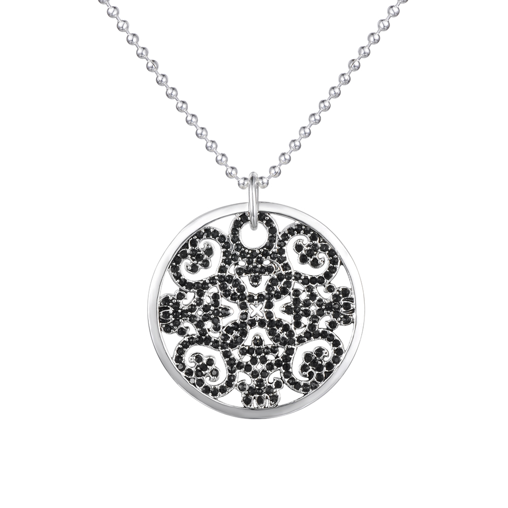 Christmas Gift Large disc-shaped Openwork Arabesque Inlay Crystal Pendant Necklace Jewelry For Women Free Shipping TS-PA080