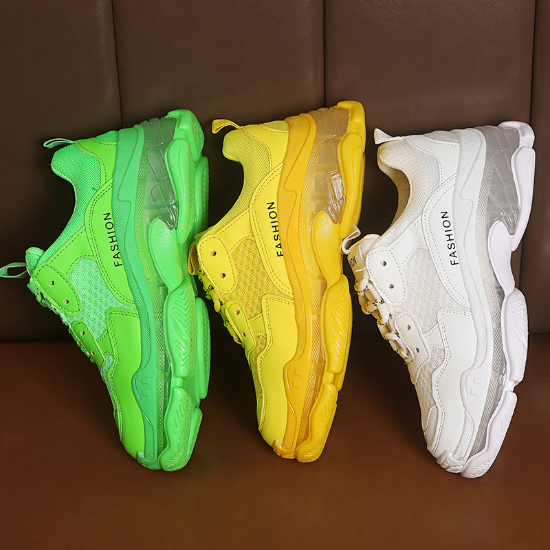 Classic Chunky Sneakers Women Fashion Dad Sneakers 2019 Green Yellow White Sneakers Transparent High Platform Casual Shoes Woman