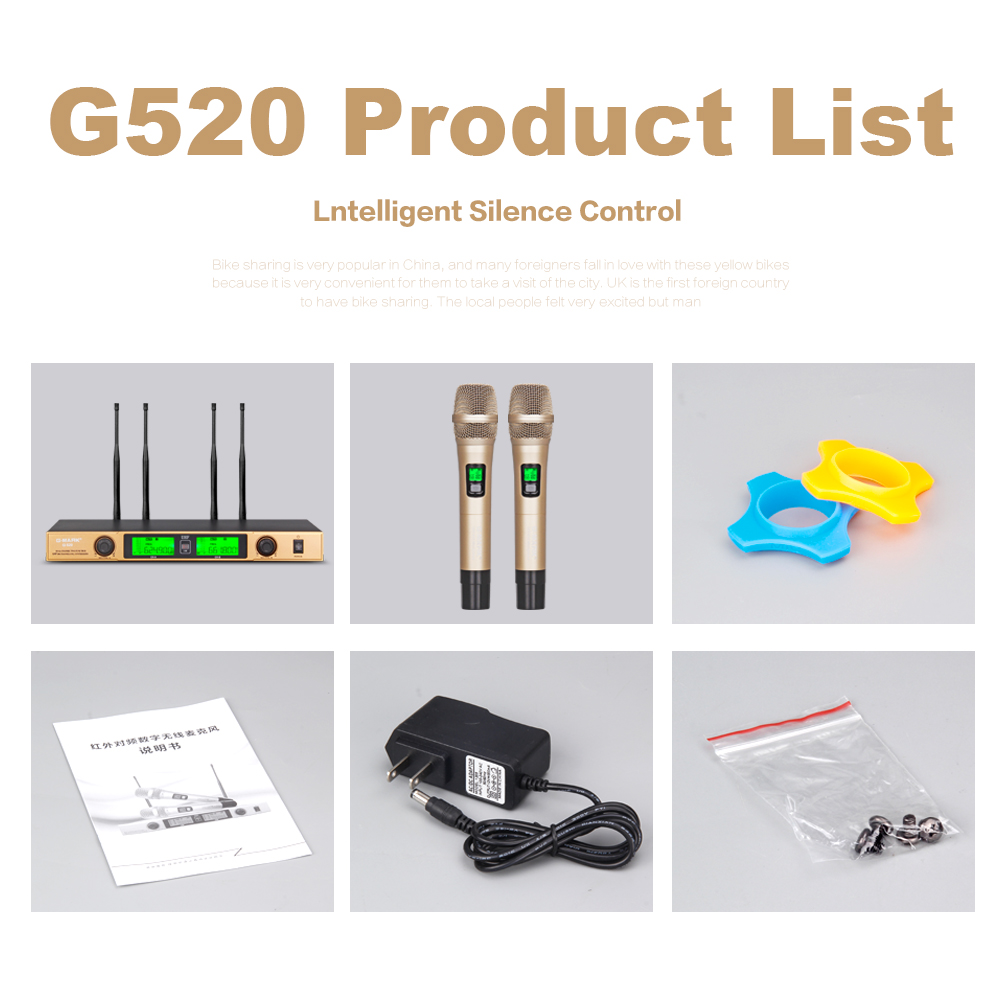 G MARK G520 Wireless Microphone system Dual Channel Receiver 150M Distance 2 Handheld mic Infrared automatic frequency matching in Microphones from Consumer Electronics