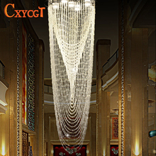 Modern Crystal Curtain Chandelier Light Fixture for Lobby, Staircase, Stairs, Foyer Large Crystal Lighting Different Sizes