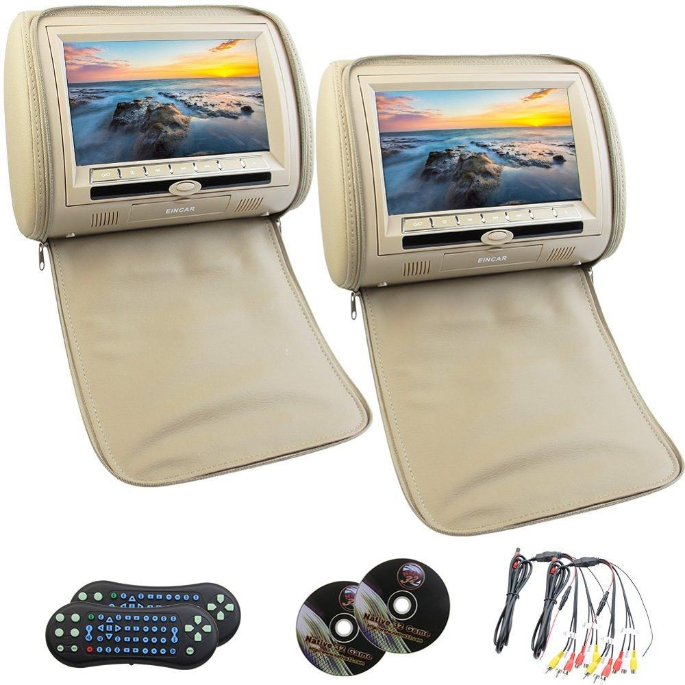 Eincar Pair of 9 inch HD screen car headrest pillow dvd player monitor both support dvd play function USB/SD/DVD/CD/MP3/MP4 FM eincar 9 inch hd digital lcd screen car pillow monitor headrest dvd cd player support fm transmitter usb sd monitor ir headphone