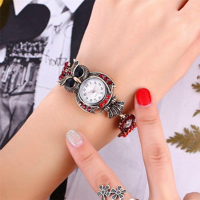 Vansvar Brand Owl Bracelet Watches Luxury Fashion Women Dress Watch Beautiful Girl Gift Watch Relogio Feminino 2018
